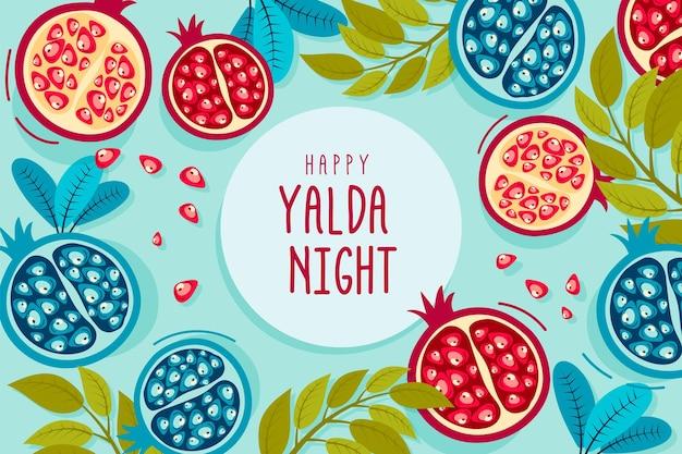 Illustrierter handgezeichneter yalda-hintergrund Kostenlosen Vektoren