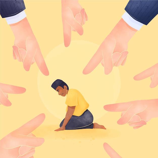 Illustrierter junge, der wegen seiner hautfarbe gemobbt wird Kostenlosen Vektoren