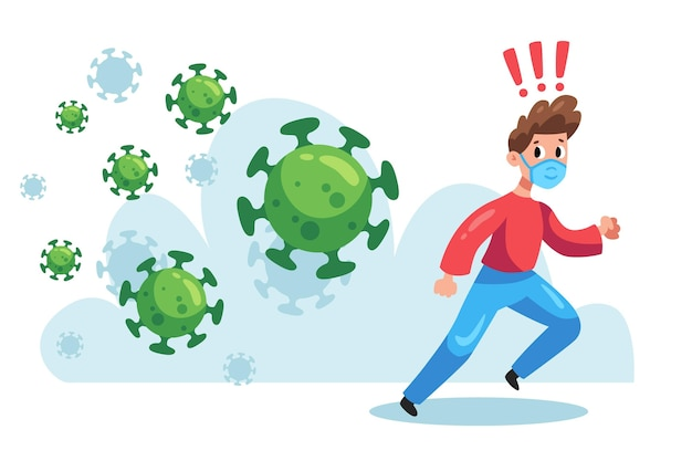 Illustrierter mann, der von partikeln des coronavirus läuft Kostenlosen Vektoren