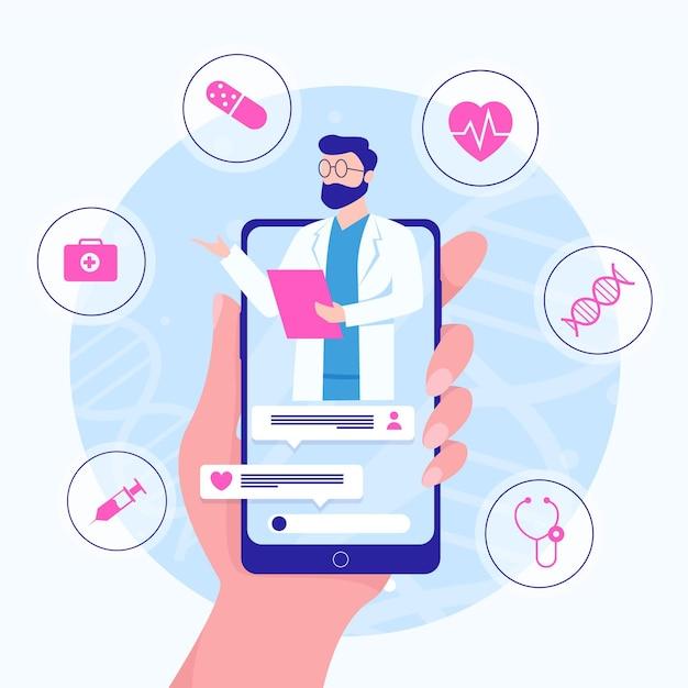 Illustrierter online-arzt auf videoanruf-app Premium Vektoren