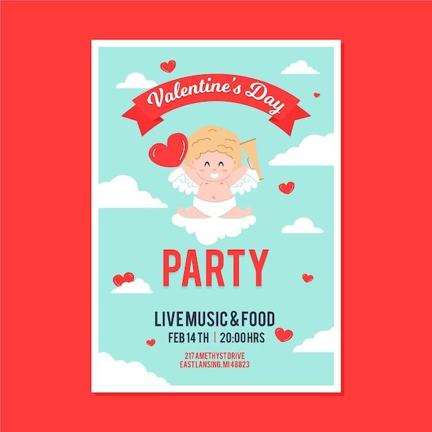 Illustrierter valentinstagspartyflieger Kostenlosen Vektoren