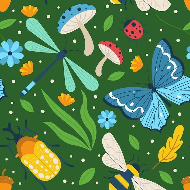 Illustriertes buntes insekten- und blumenmuster Kostenlosen Vektoren