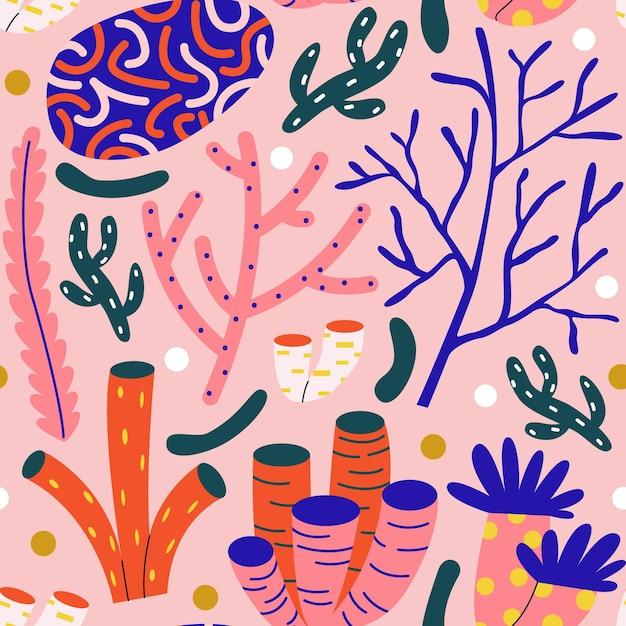 Illustriertes buntes korallenmuster Kostenlosen Vektoren