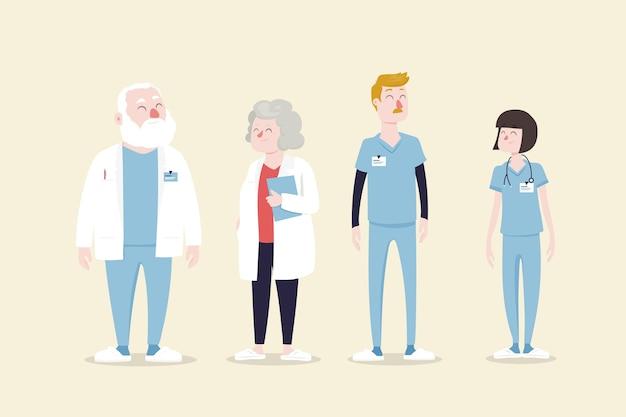Illustriertes design des medizinischen fachpersonalteams Kostenlosen Vektoren