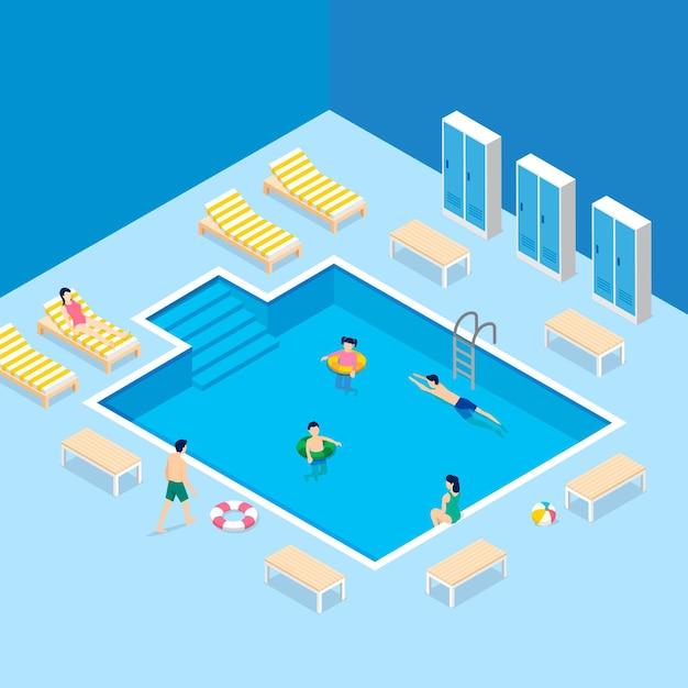 Illustriertes isometrisches öffentliches schwimmbad Premium Vektoren