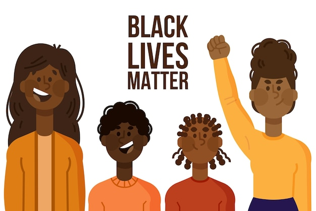Illustriertes konzept der schwarzen lebensmaterie Kostenlosen Vektoren