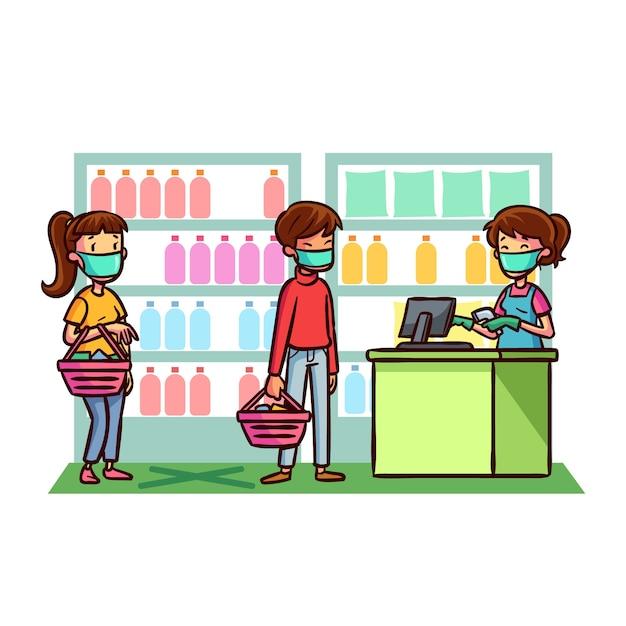 Illustriertes konzept des coronavirus-supermarkts Kostenlosen Vektoren