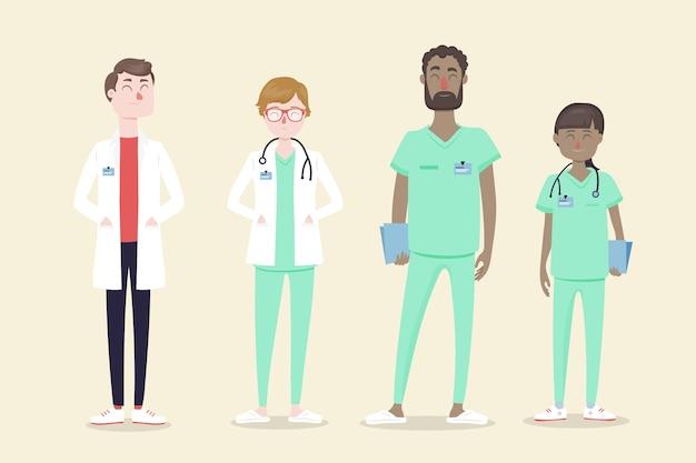 Illustriertes konzept des medizinischen fachpersonalteams Kostenlosen Vektoren