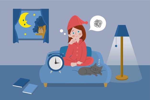 Illustriertes mädchen im bett mit schlaflosigkeit Kostenlosen Vektoren