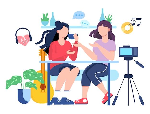 Illutratiion des video-bloggens. idee von kreativität und inhalt, moderner beruf. charakteraufzeichnungsvideo mit kamera für ihren blog. Premium Vektoren