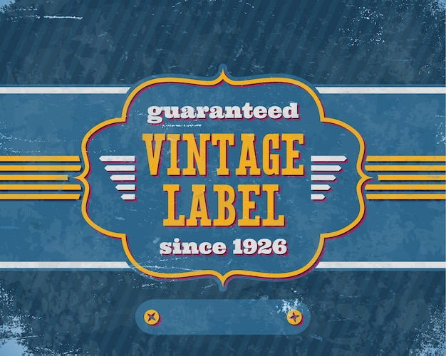 Im alter von vintage labelon auf blauem karton Premium Vektoren