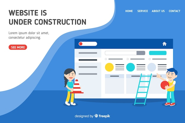 Im aufbau befindliche web-landing-page Kostenlosen Vektoren