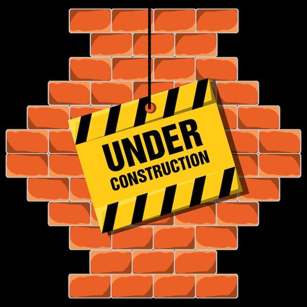 Im bau, der über backsteinmauerkonzept warnt Premium Vektoren