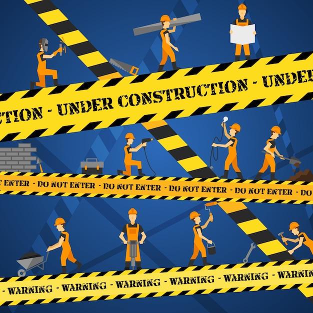 Im Bau Poster Kostenlose Vektoren