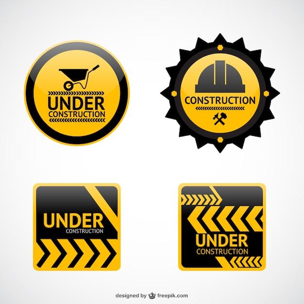 Im Bau Vektor-Aufkleber Kostenlose Vektoren