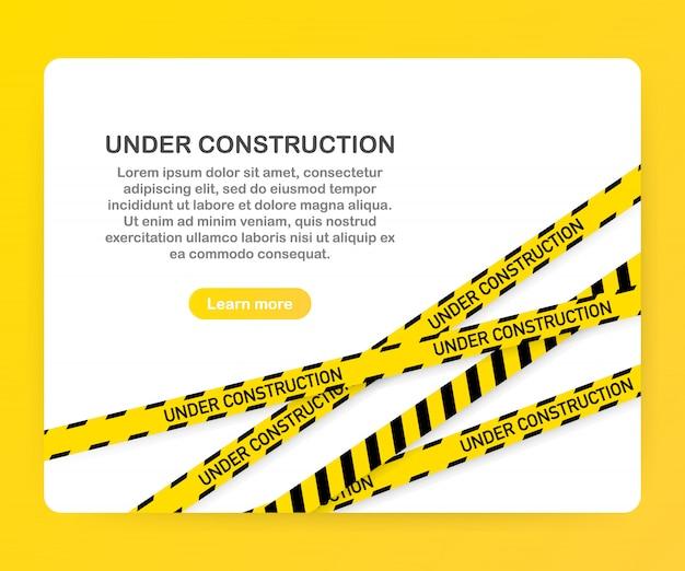 Im bau website-seite mit schwarz und gelb gestreiften grenzen vorlage Premium Vektoren