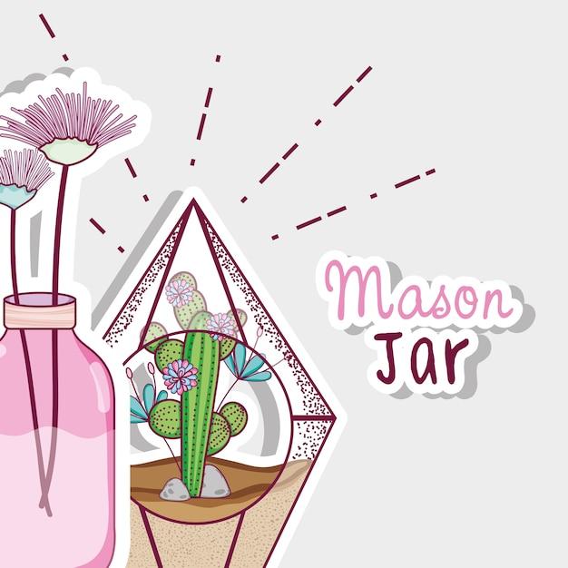 Im Garten arbeitende Maurergläser-Konzeptkarikatur | Download der ...