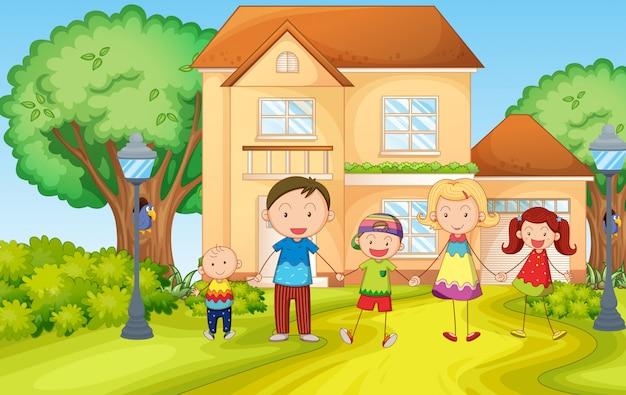 Im haus lebende familie Kostenlosen Vektoren