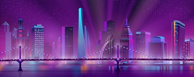 Im stadtzentrum gelegener nachtlandschaftskarikaturvektor der metropole Kostenlosen Vektoren