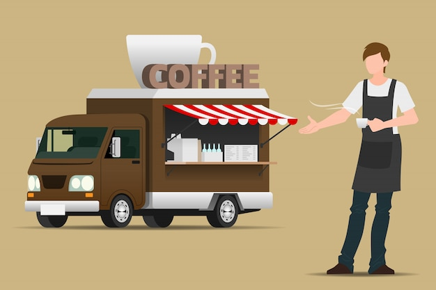 Imbisswagen kaffee. Premium Vektoren