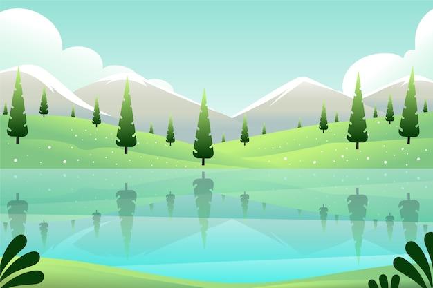 Immergrüne bäume und seefrühlingslandschaft Kostenlosen Vektoren