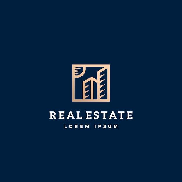 Immobilien abstrakte zeichen-, symbol- oder logo-vorlage. Kostenlosen Vektoren