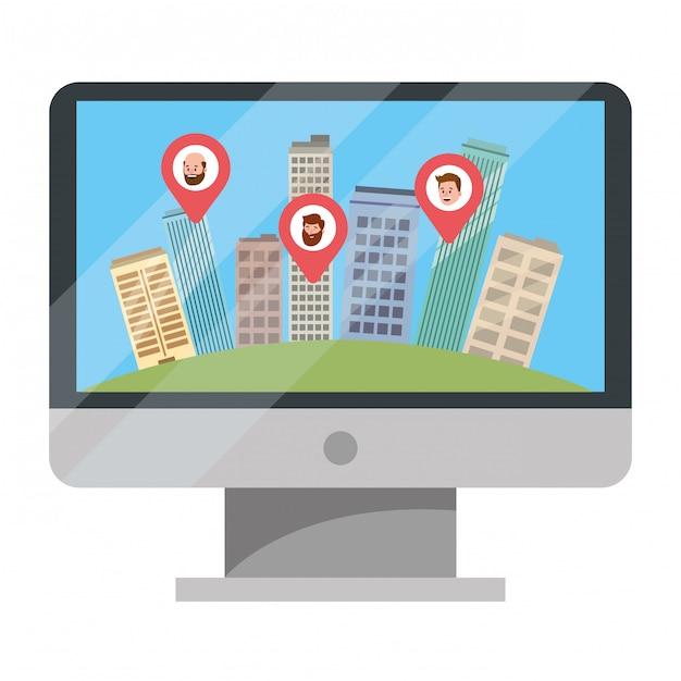 Immobilien-app im tv-cartoon Premium Vektoren