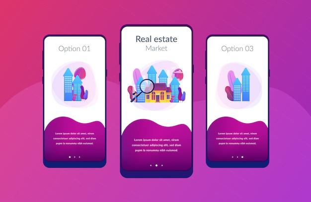 Immobilien-app-schnittstellenvorlage. Premium Vektoren