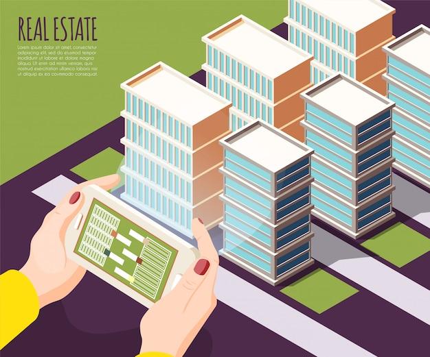 Immobilien augmented reality isometrisch und farbiger hintergrund mit wohnungen in der großstadtillustration Kostenlosen Vektoren