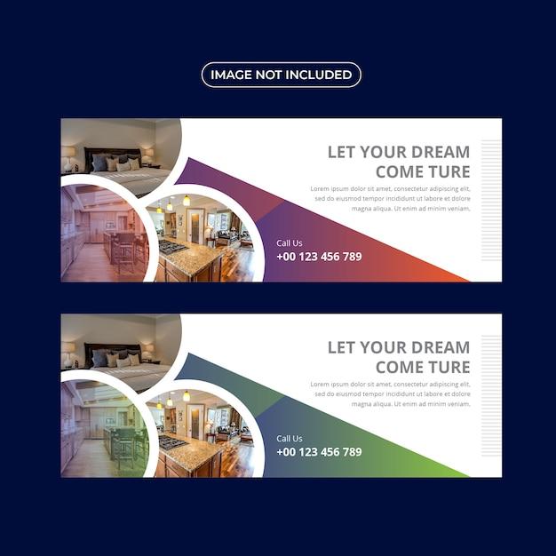 Immobilien banner vorlagensatz Premium Vektoren