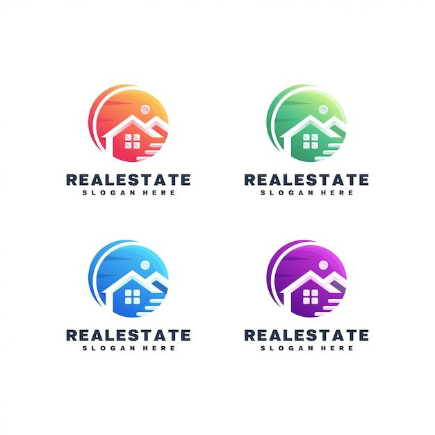 Immobilien bunte logo festgelegt Premium Vektoren