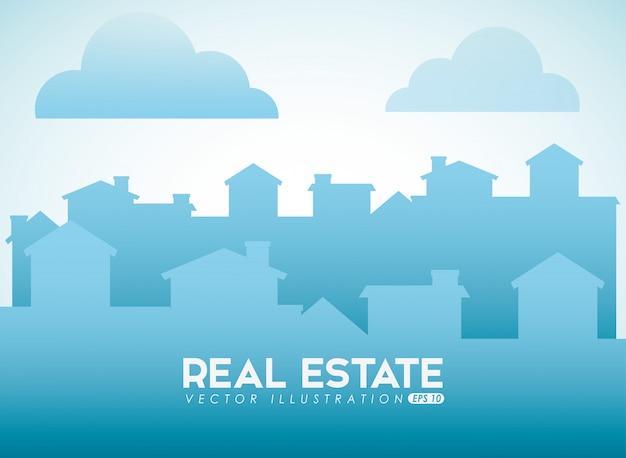 Immobilien-design mit stadtsilhouette Kostenlosen Vektoren