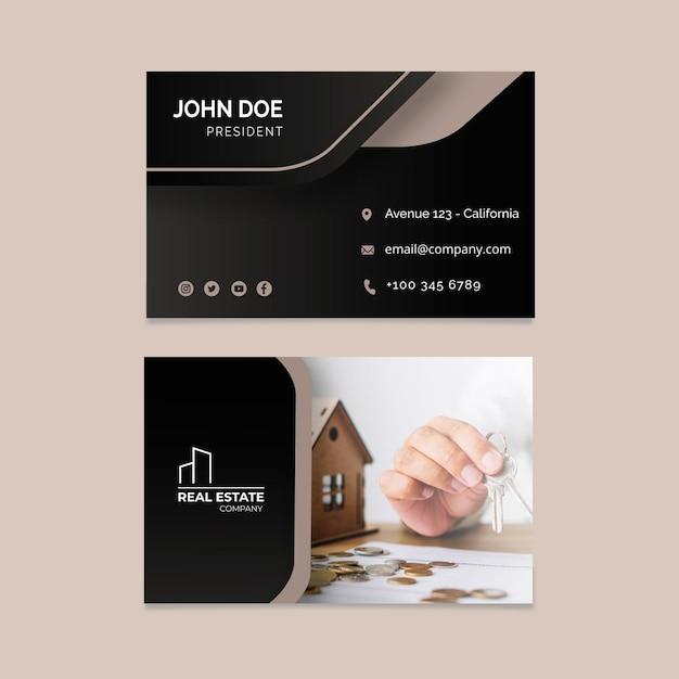 Immobilien doppelseitige visitenkarte Premium Vektoren