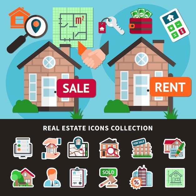 Immobilien farbige zusammensetzung Kostenlosen Vektoren