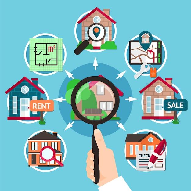 Immobilien flache zusammensetzung mit lupe in den händen einer mannillustration Kostenlosen Vektoren
