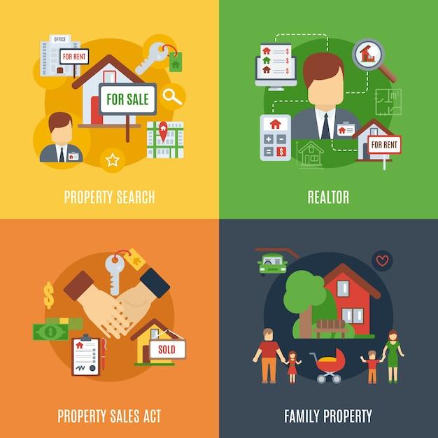 Immobilien-flat-set Kostenlosen Vektoren