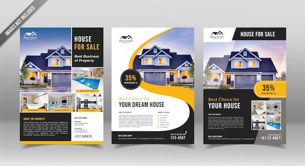 Immobilien flyer oder broschüre entwurfsvorlage. makler Premium Vektoren