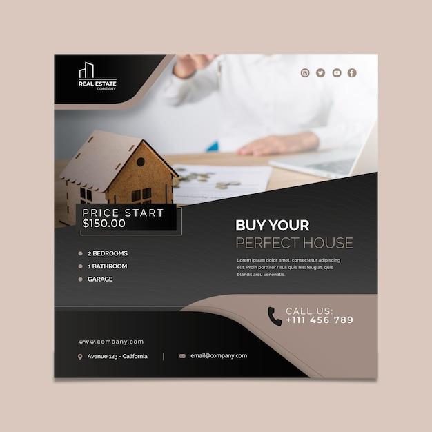 Immobilien flyer platz Premium Vektoren