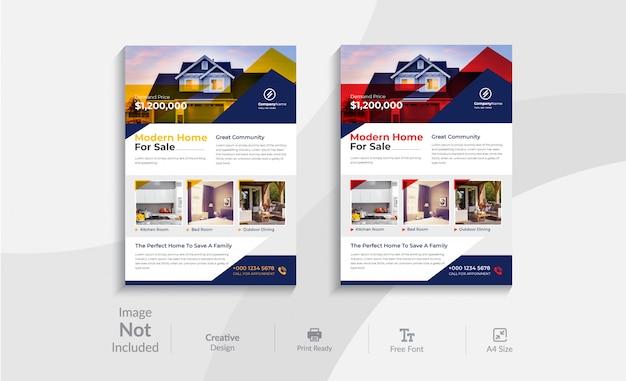 Immobilien flyer vorlage design Premium Vektoren