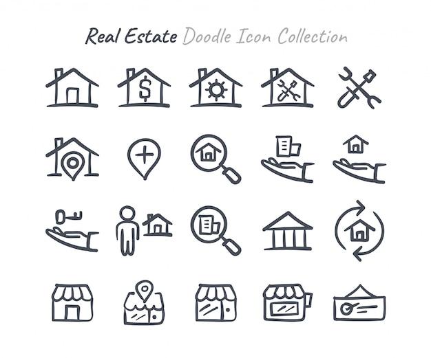 Immobilien gekritzel-icon-sammlung Premium Vektoren