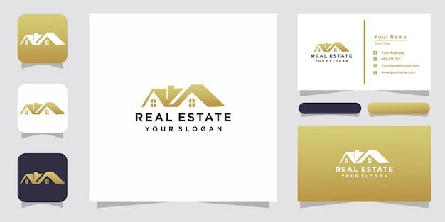 Immobilien gold logo design mit visitenkarte Premium Vektoren