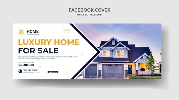 Immobilien haus verkauf social media cover web banner Premium Vektoren