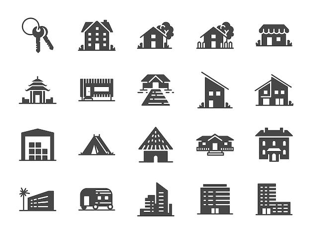 Immobilien-icon-set. Premium Vektoren