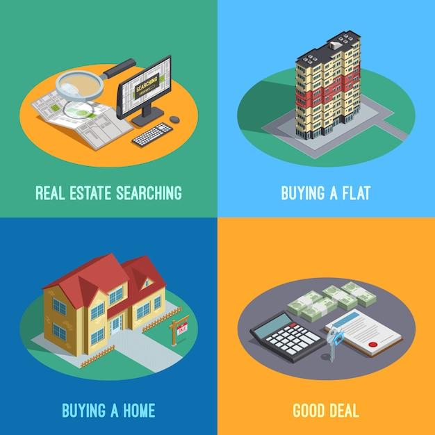 Immobilien isometrische elemente Kostenlosen Vektoren