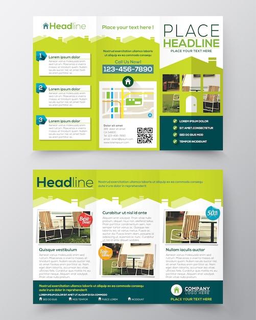 Immobilien-Katalog Flyer Design-Vorlage Vektor Tri-fach | Download ...
