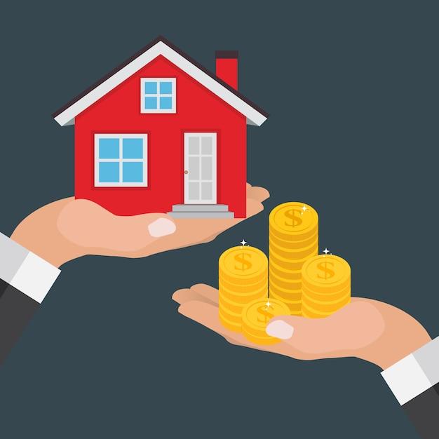 Immobilien-konzept. kaufen sie hausplakat mit den mannhänden, die geld für das hauptgebäude zahlen. illustration Premium Vektoren