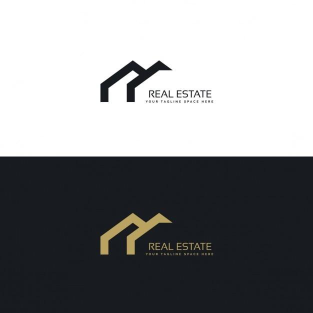Immobilien kreativen logo-design in minimalen stil Kostenlosen Vektoren