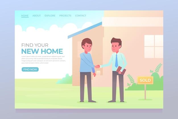 Immobilien-landingpage mit männern Kostenlosen Vektoren