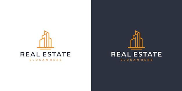 Immobilien line art logo design Premium Vektoren