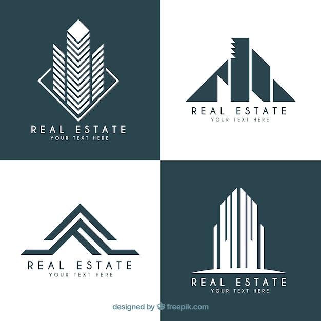 Immobilien-Logos in modernem Design Kostenlose Vektoren